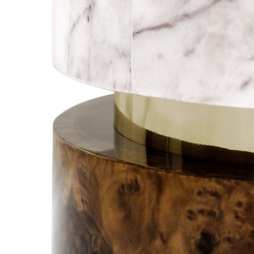 new Luxe Collection, Contemporary Marble Gold Walnut Veneer Oval Designer Coffee Table