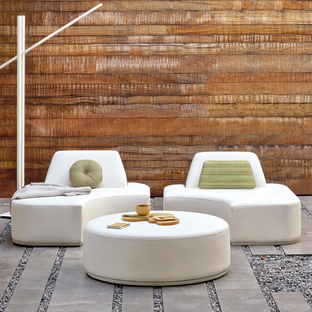 Garden Trends, Curves, Contemporary Modular Designer Outdoor Garden Chair And Pouffe Set