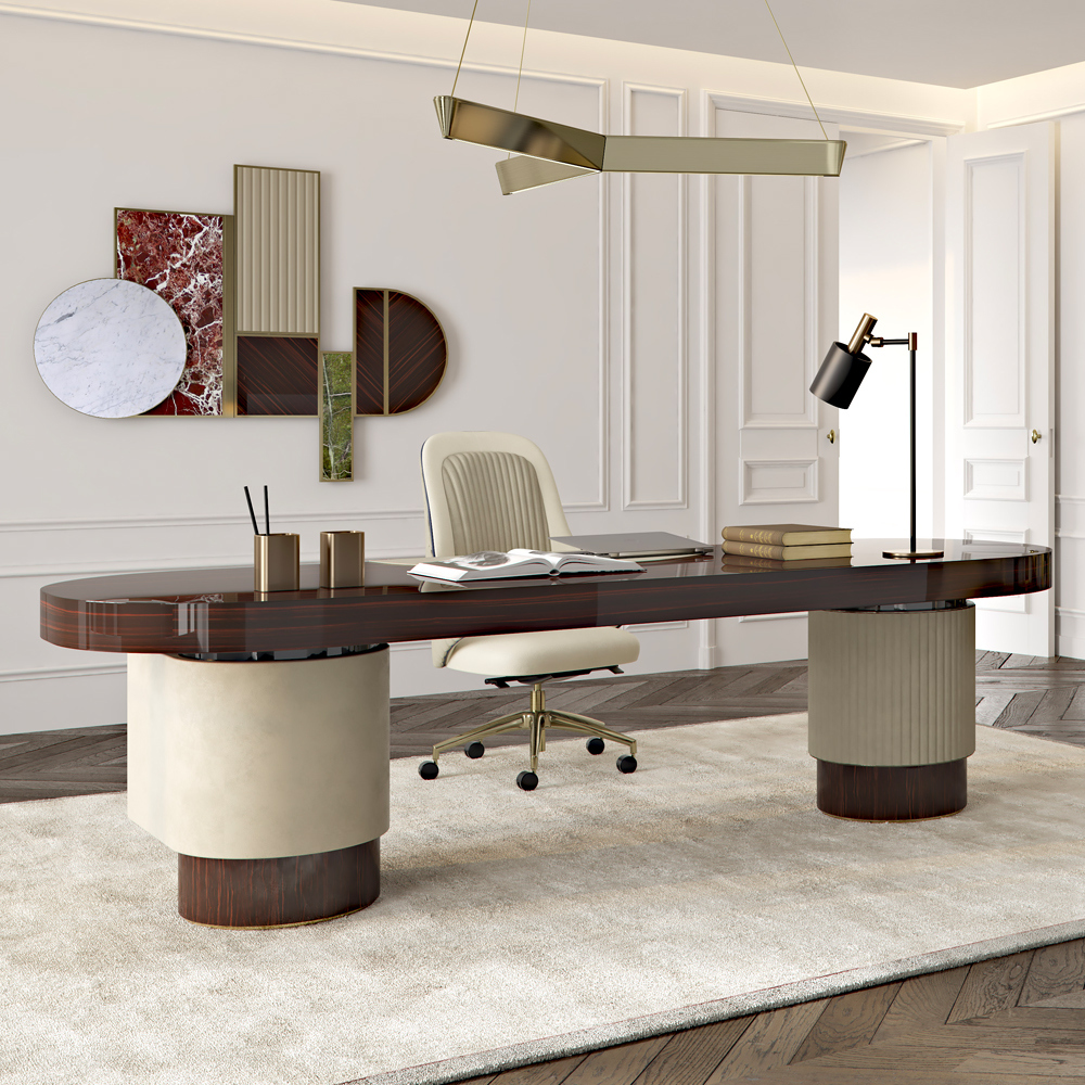 Designer Italian Ebony Veneer And Leather Contemporary Desk