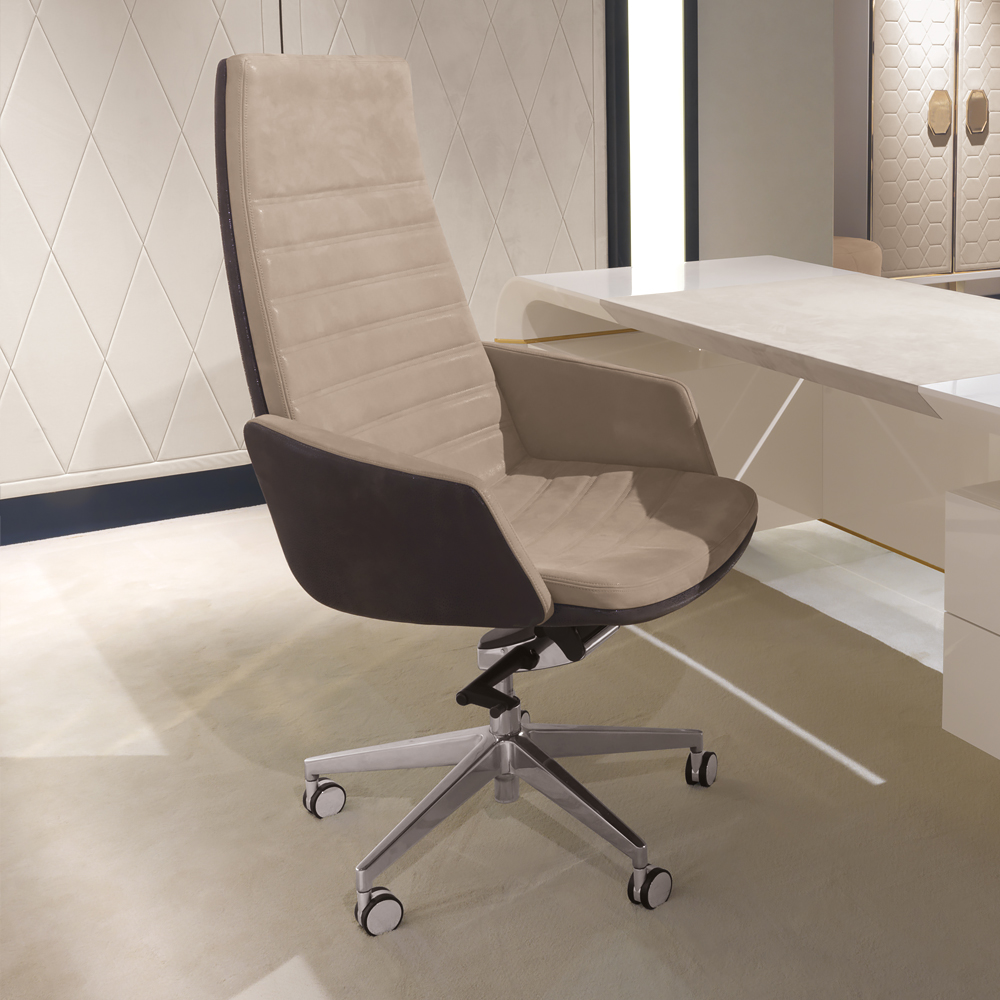 Contemporary Brown Leather Executive Office Chair