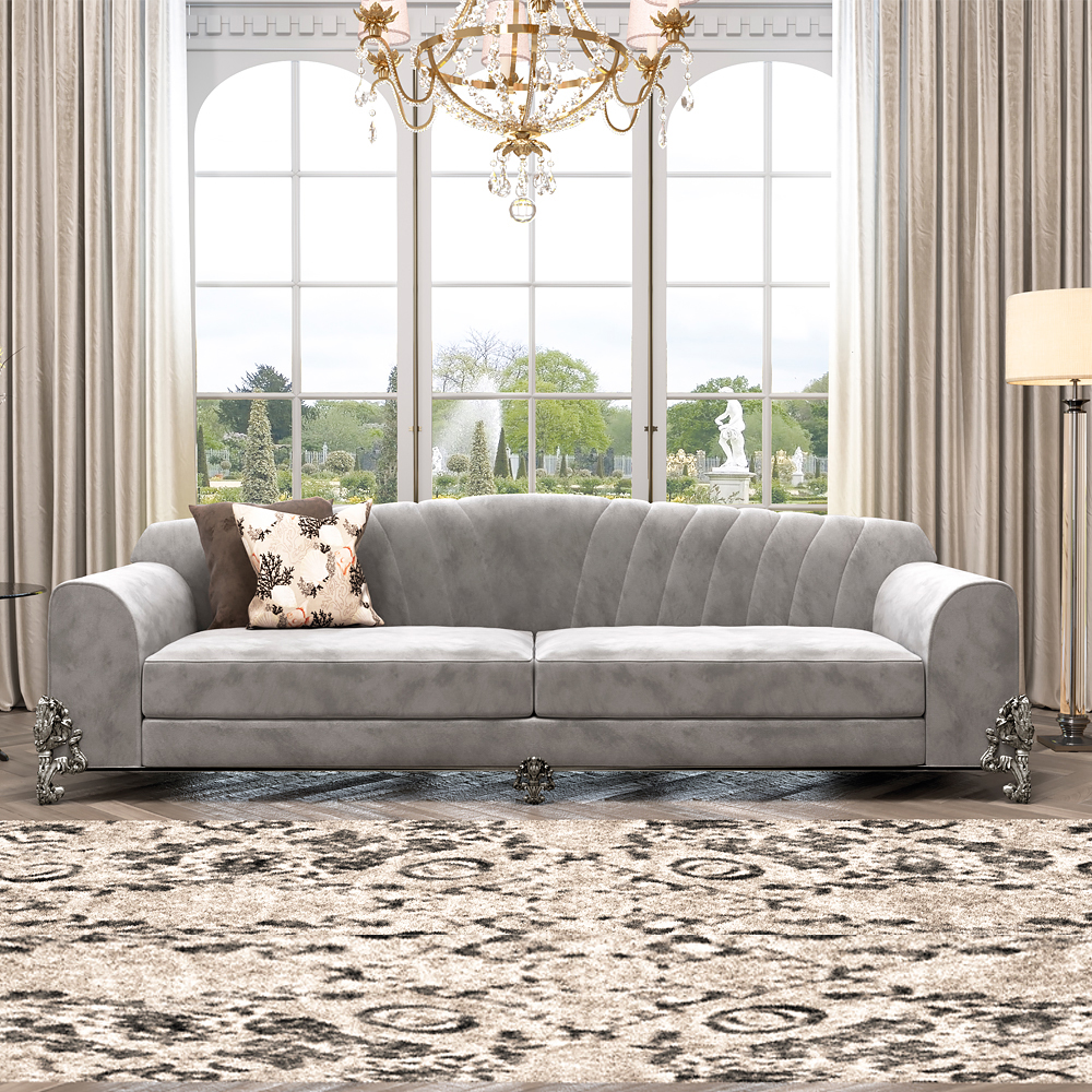 luxury interiors, Classic Luxury Nubuck Leather Grey Sofa