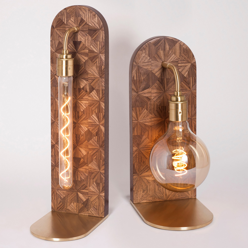 High End Hand-Crafted Marquetry Walnut Tall Table Lamp