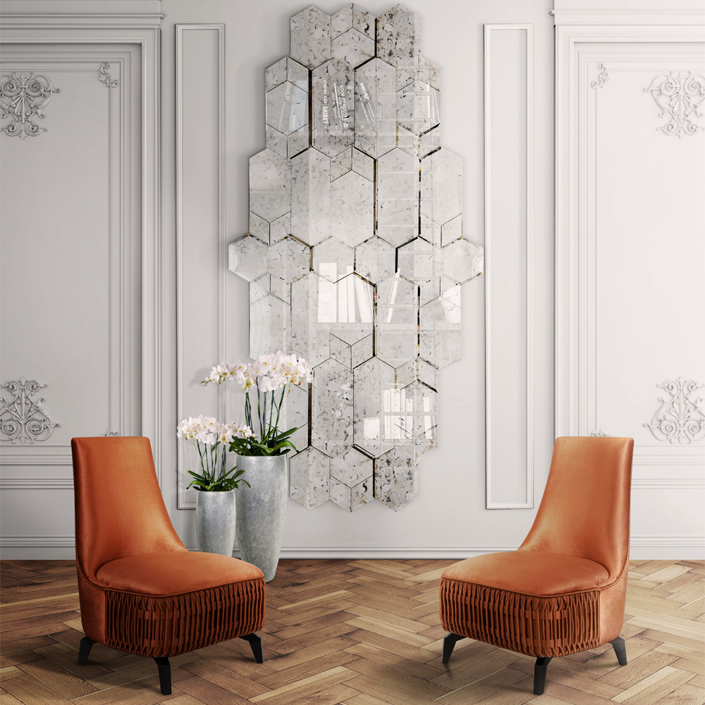 High End Large Designer Geometric Multi Layered Wall Mirror
