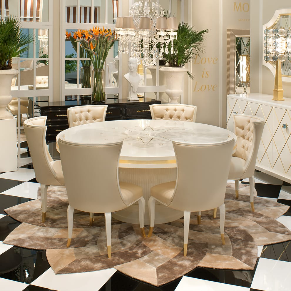High End Modern Ivory Lacquered Round Dining Table Set