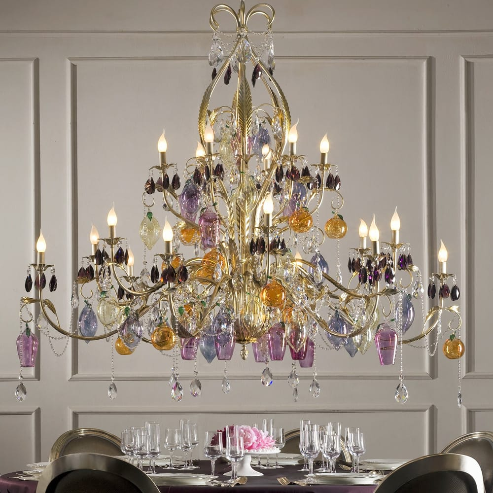 luxury interiors, Italian Murano Glass Fruit And Bohemian Crystal Chandelier