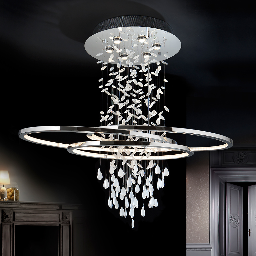luxury interiors, Large Contemporary Chrome Crystal Chandelier