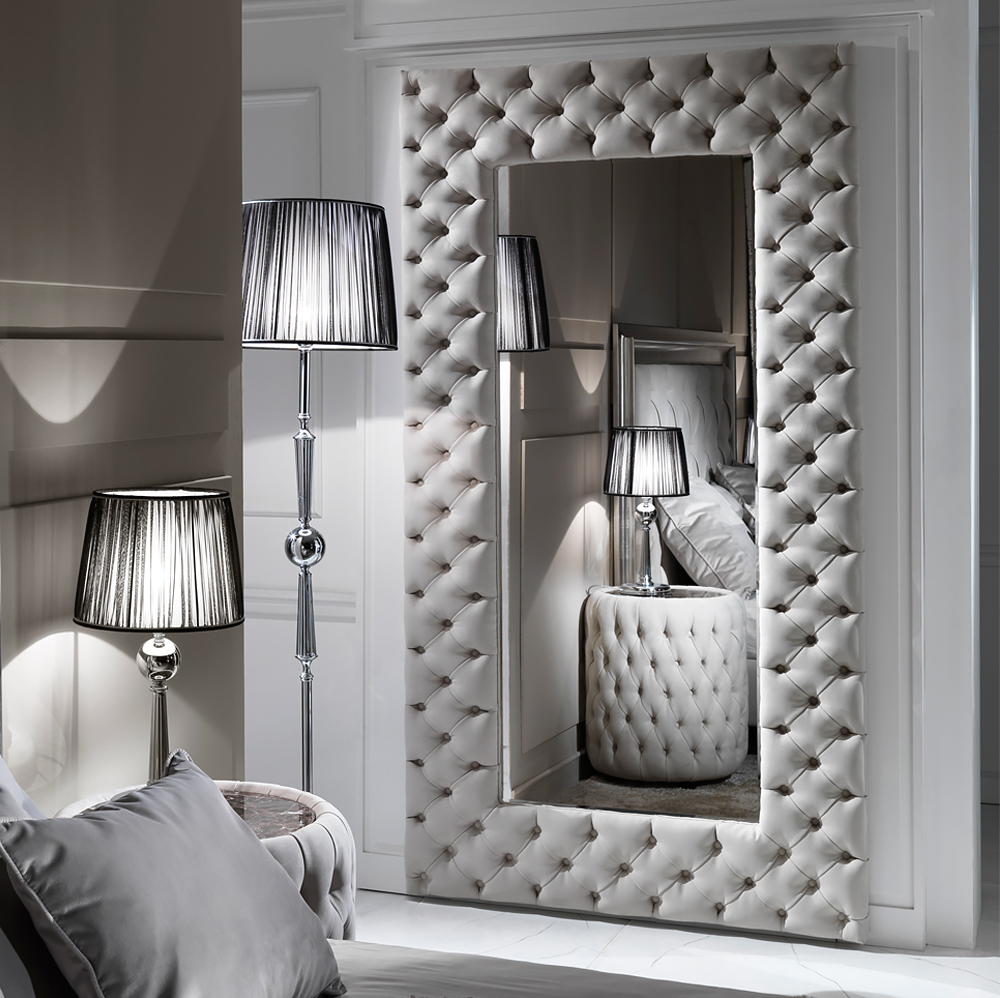 Large mirror, Modern Button Upholstered Nubuck Leather Wall Mirror