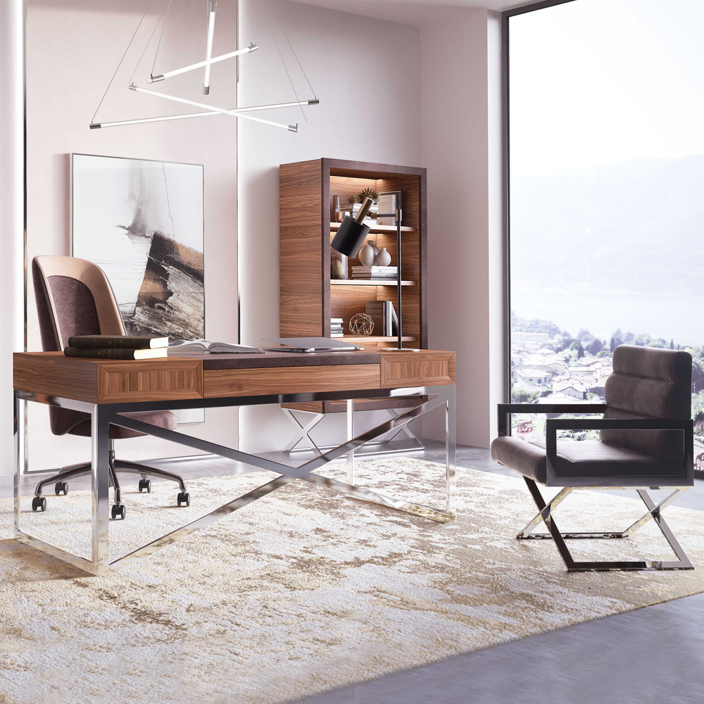 Home office, Modern Italian Designer Veneer Executive Desk