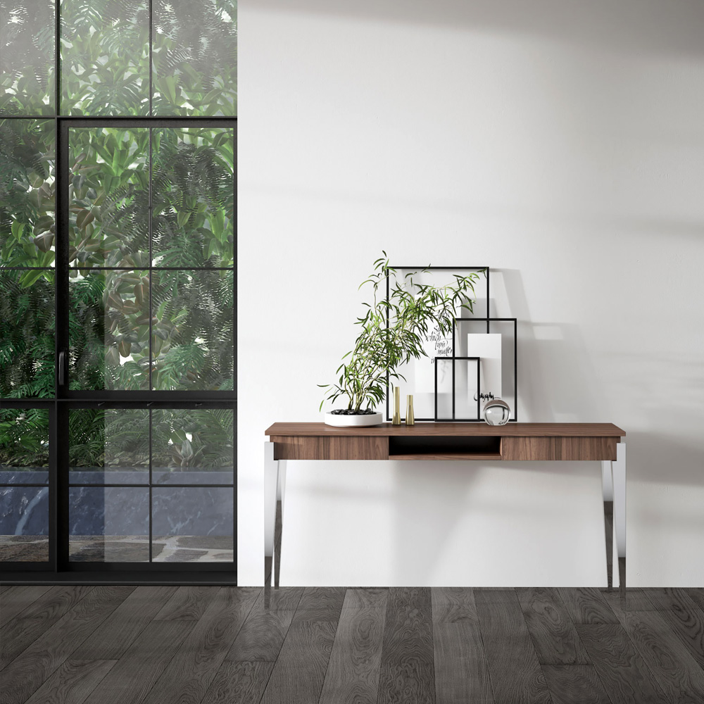 Small desks, Modern Italian Designer Veneered Console Table With 2 Drawers