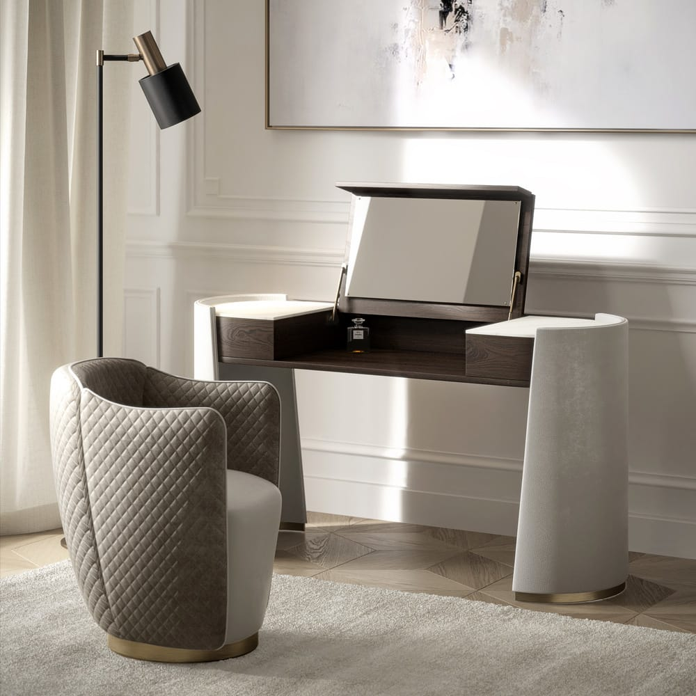 home desk, Modern Italian Veneer And Leather Dressing Table Set