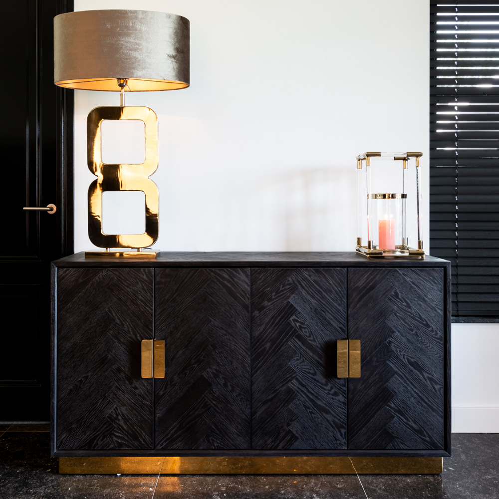 show home furniture for sale, Contemporary Black Oak And Gold Finish Sideboard