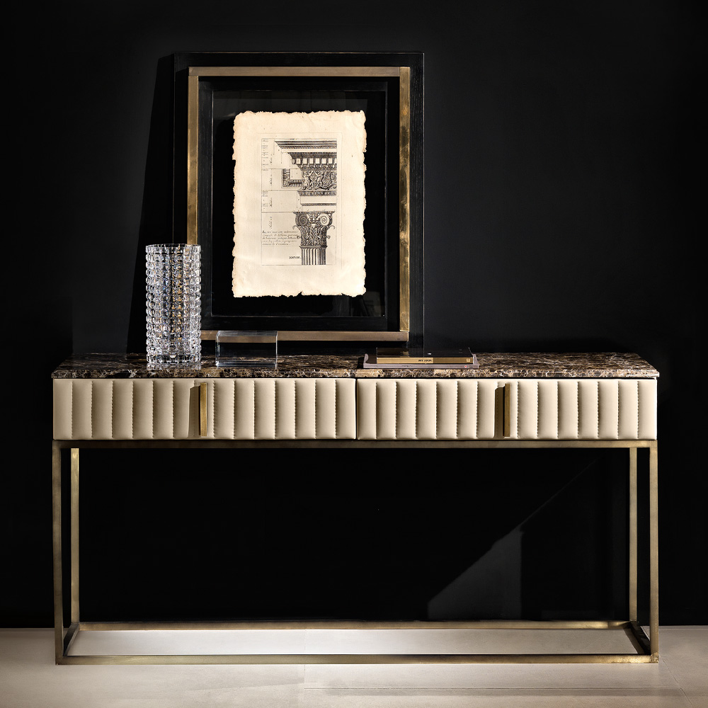 Contemporary Italian Leather Designer Marble Console Table