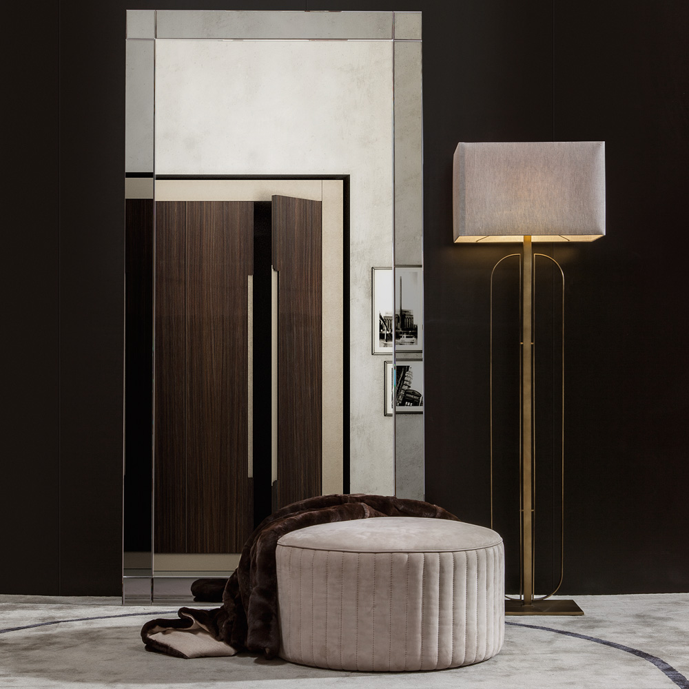 Contemporary Large Floor Standing Mirror, Venetian Smoked Glass