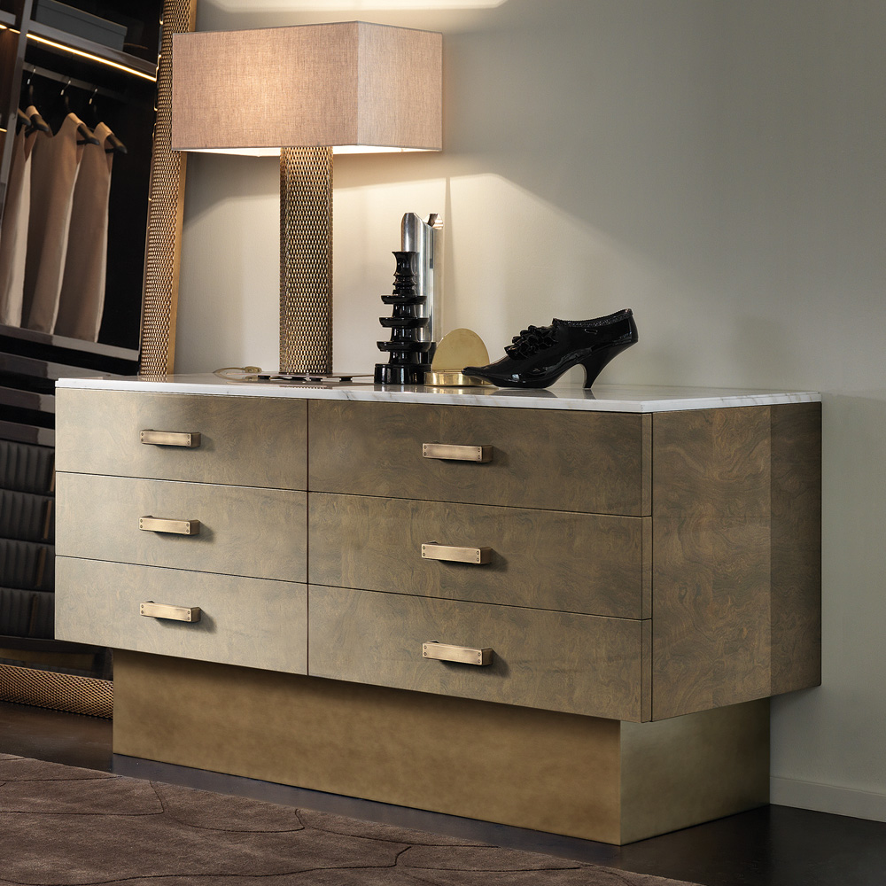New Arrivals, Designer Italian Veneered Modern Chest Of Drawers With Marble Top