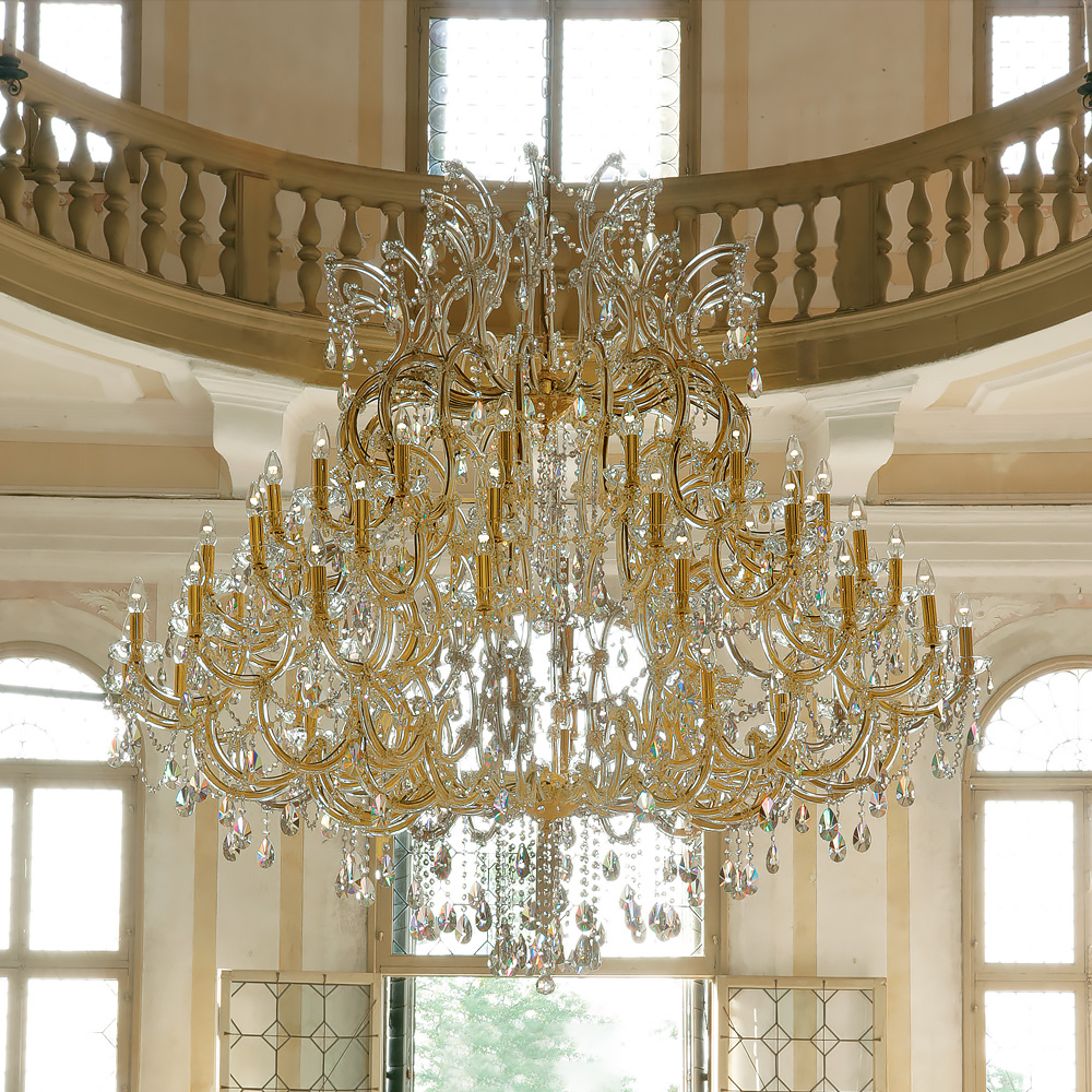 luxury interiors, Extremely Large Classic Gold Swarovski Crystal Chandelier