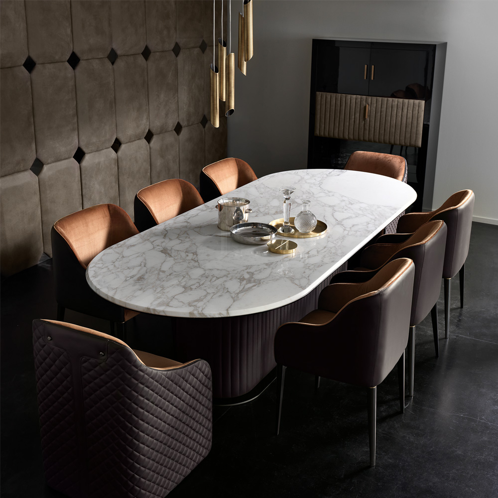 New Arrivals, High End Contemporary Italian Designer Marble Dining Set