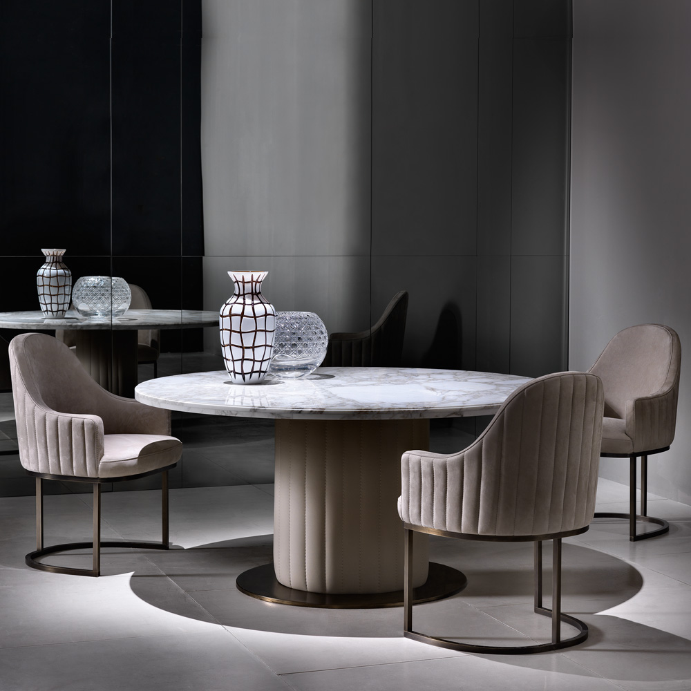New Arrivals, Italian Designer Marble Round Dining Table And Chairs Set