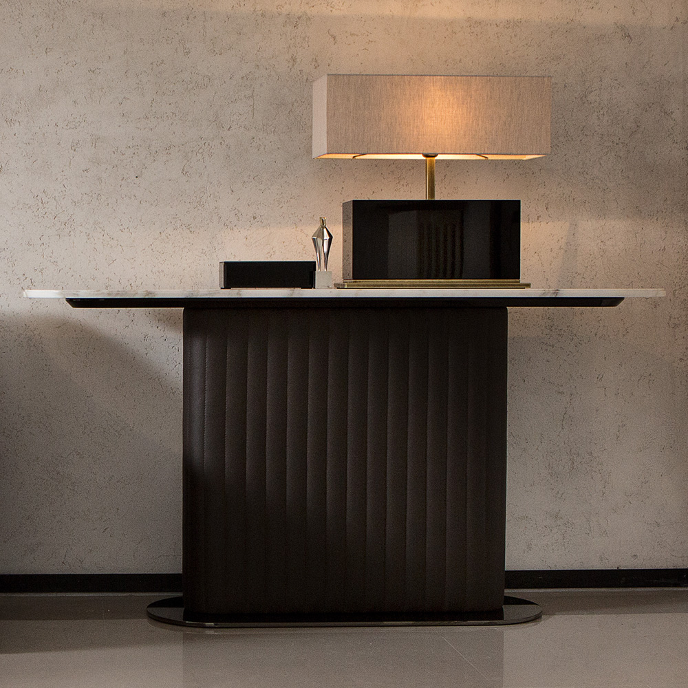 New Arrivals, Leather Italian Designer Contemporary Console Table