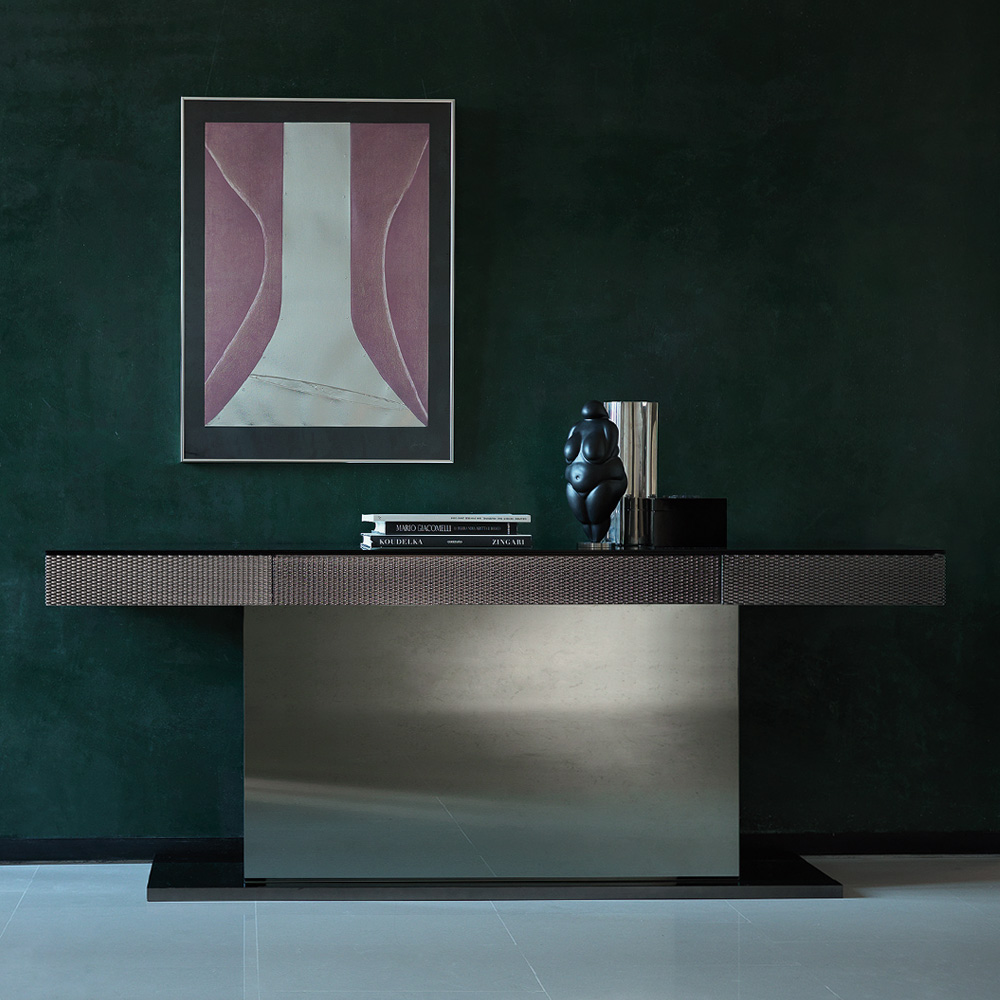 New Arrivals, Luxury Italian Designer Mirrored Console Table With Drawer