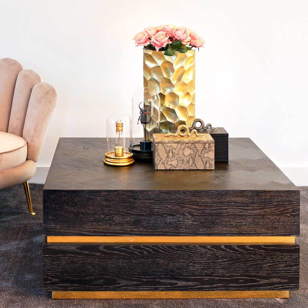 show home furniture, contemporary black and gold square coffee table