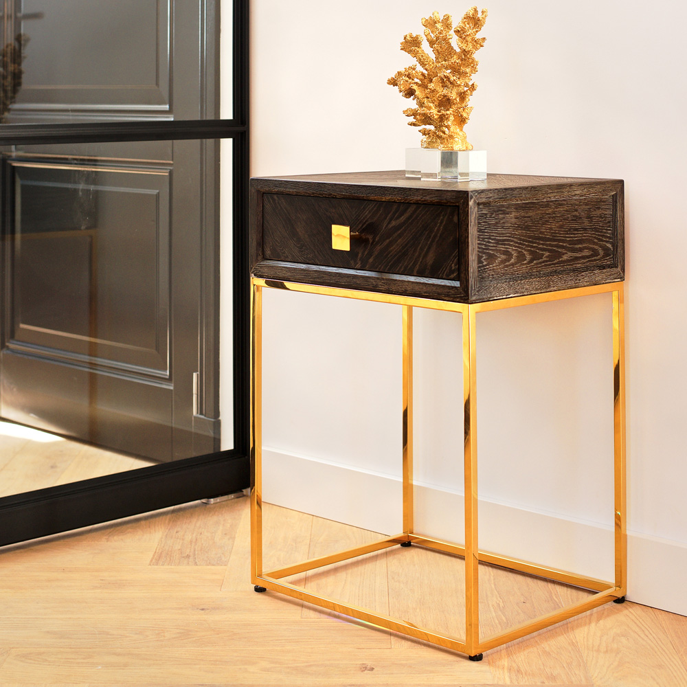 showhome, Modern Black Oak And Gold Finish Side Table