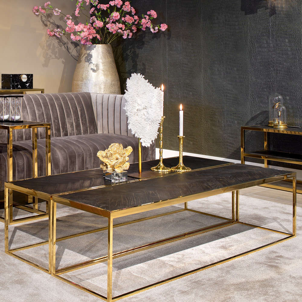 showhome furniture, modern black and gold narrow coffee table