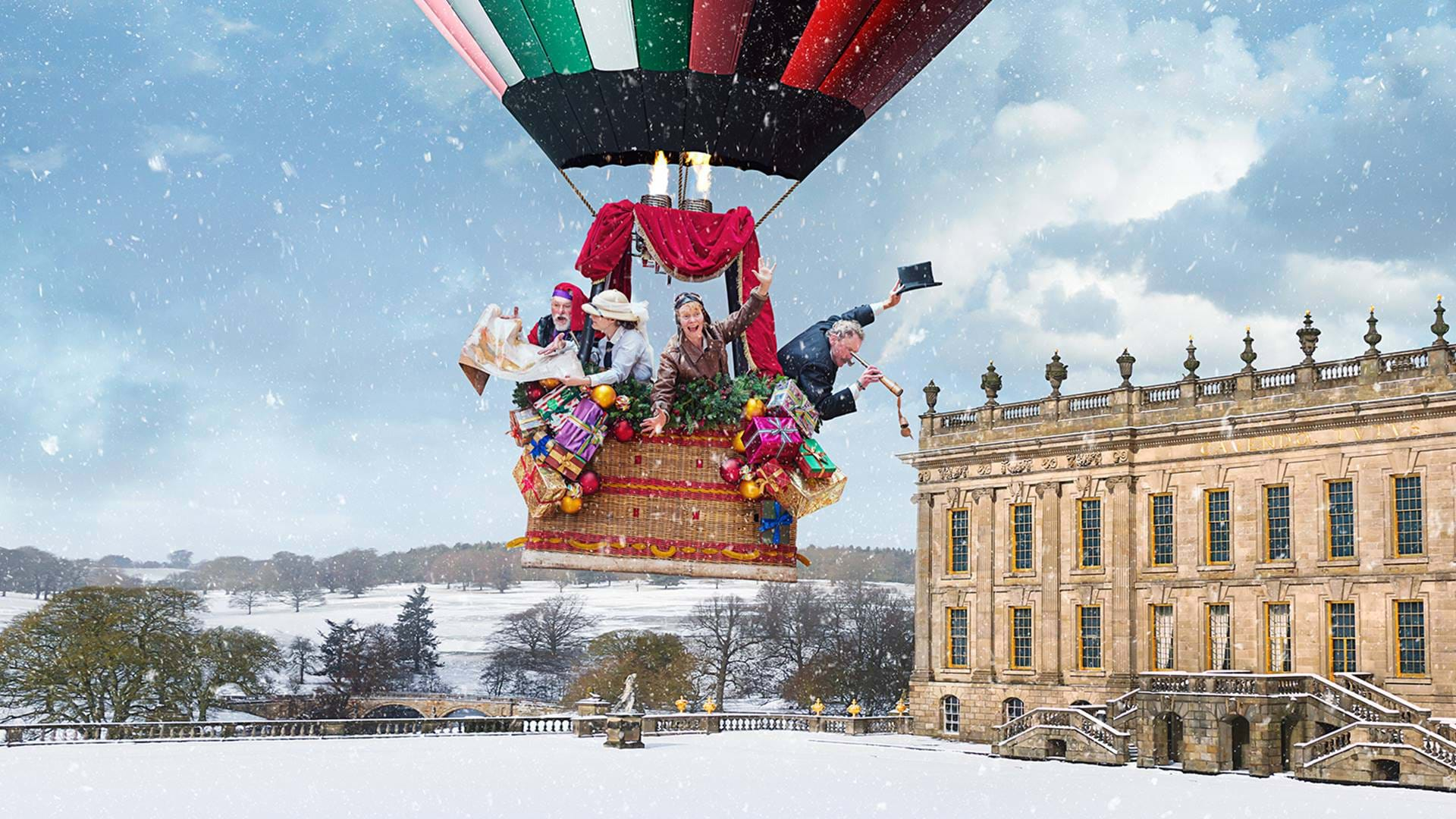 Magical Christmas Places, Chatsworth House, exterior with hot air balloon and snow