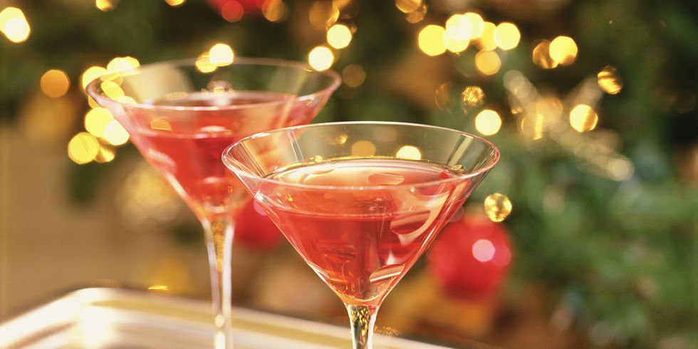 Last minute gifts, gingle bells cocktail in a martini glass