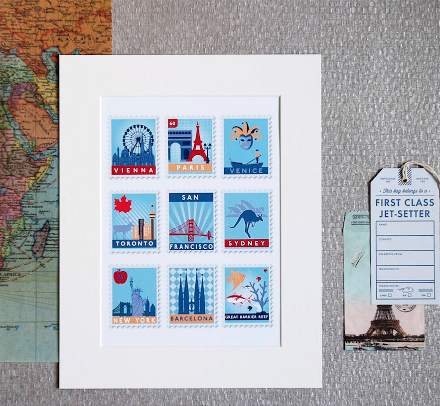 last minute gifts, personalised stamp destination print