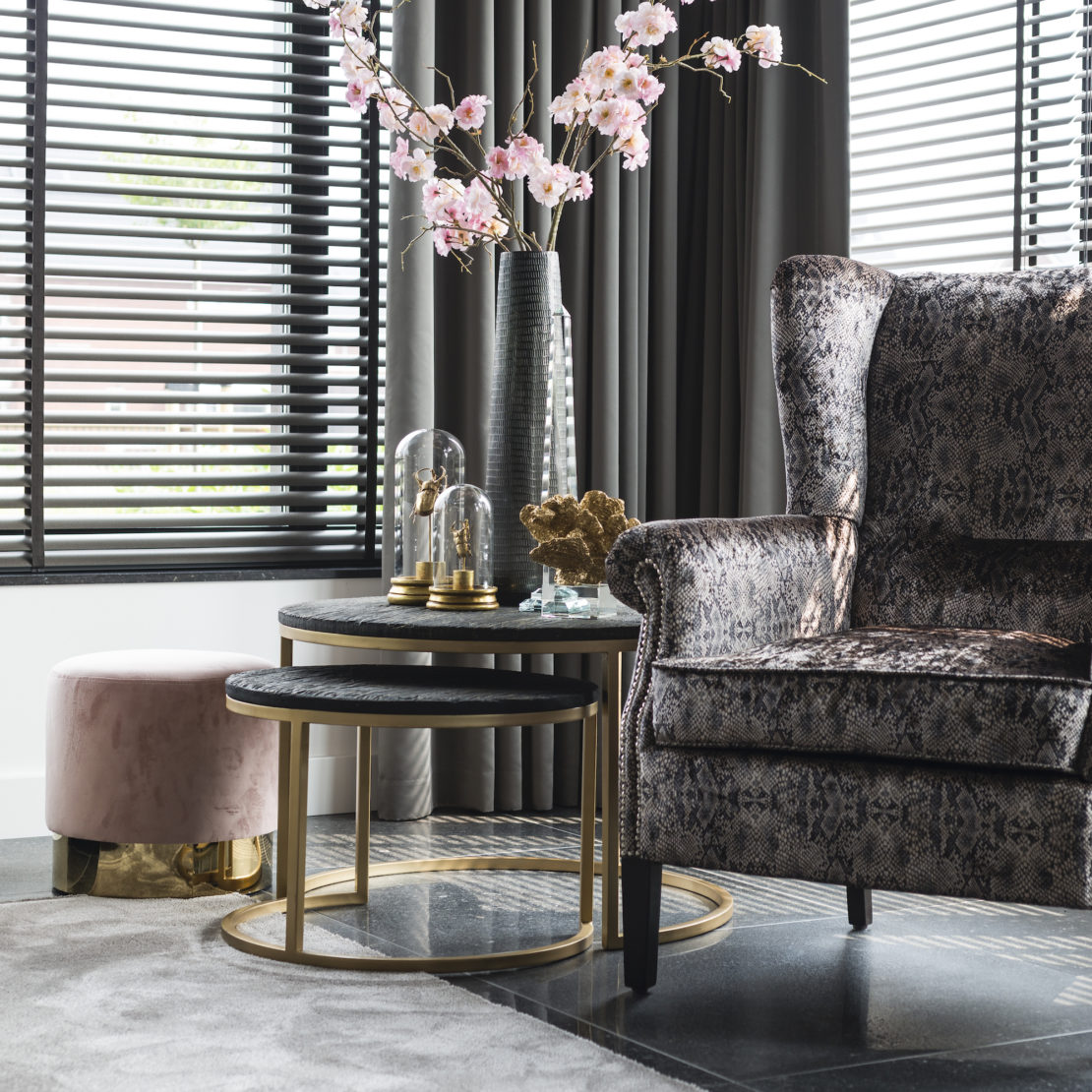 showhome furniture, Contemporary Black And Gold Finish Coffee Table Nest