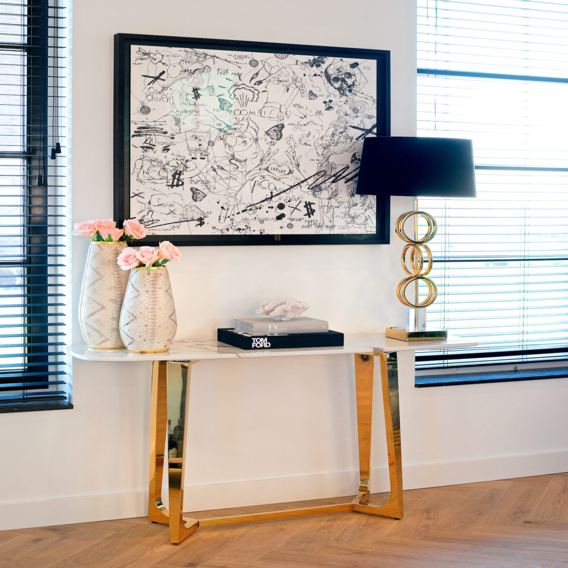Contemporary Faux Marble And Gold Finish Console Table