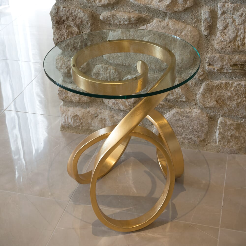 Christmas dining, glass and gold leaf, swirl base, side table