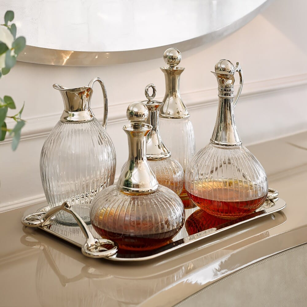 Christmas dining, silver tray with 5 decanters
