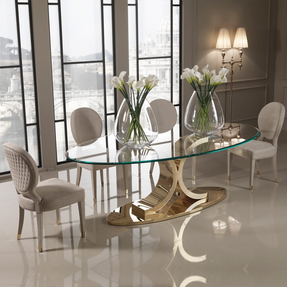 Christmas dining, glass and gold oval dining table