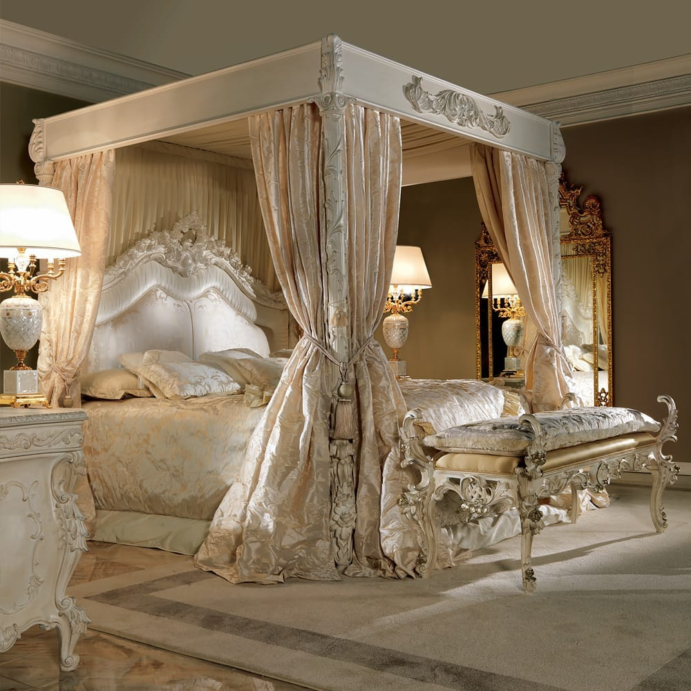 ex-display, extravagant four poster bed with ivory curtains and coverings