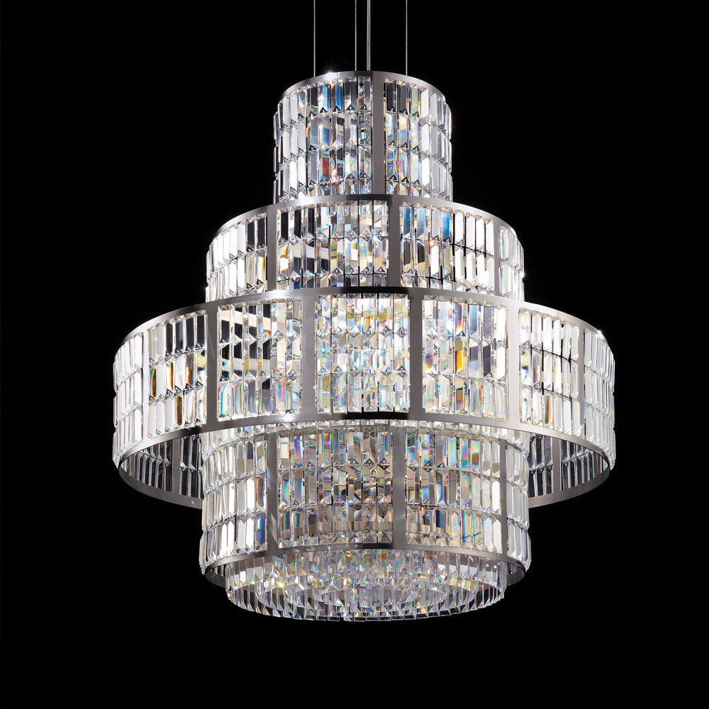 New Arrivals, Italian Designer Art Deco Inspired Chandelier With Faceted Crystals