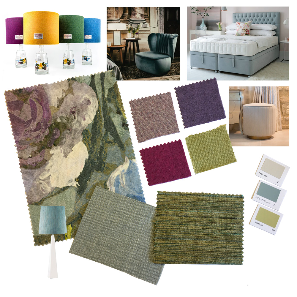 Moodboard, turquoise bedroom design