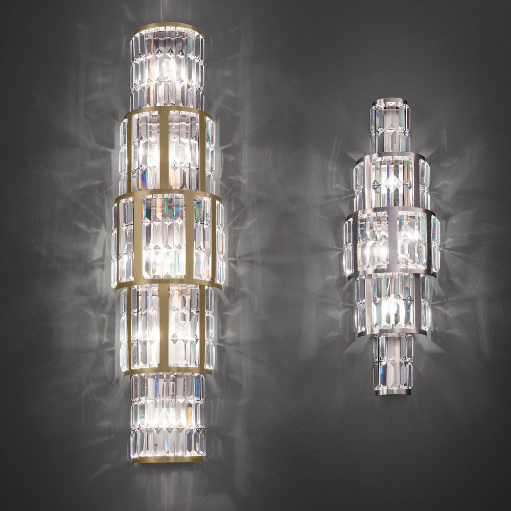 New Arrivals, Italian Designer Wall Light With Faceted Crystal Pendants