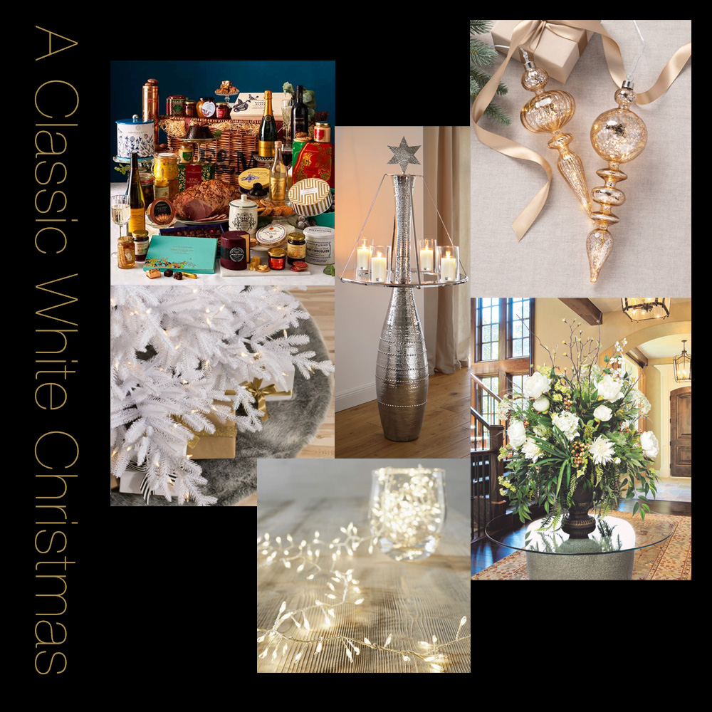 christmas dining, Juliettes Interiors White Christmas moodboard