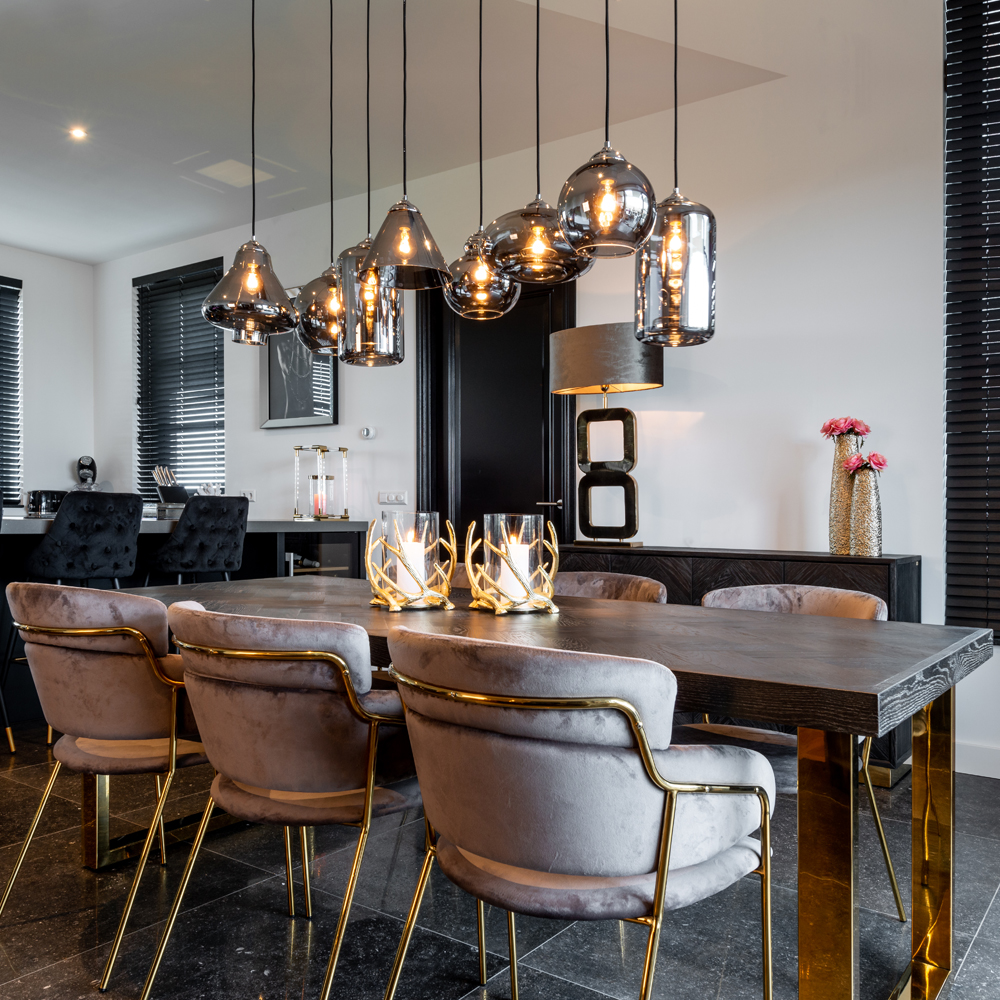 show home furniture, Contemporary Black Oak And-Gold Finish Dining Table Set
