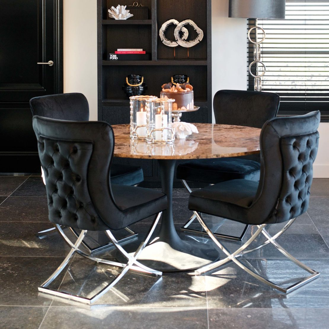 showhome furniture, Emperador Marble Modern Round Dining Table