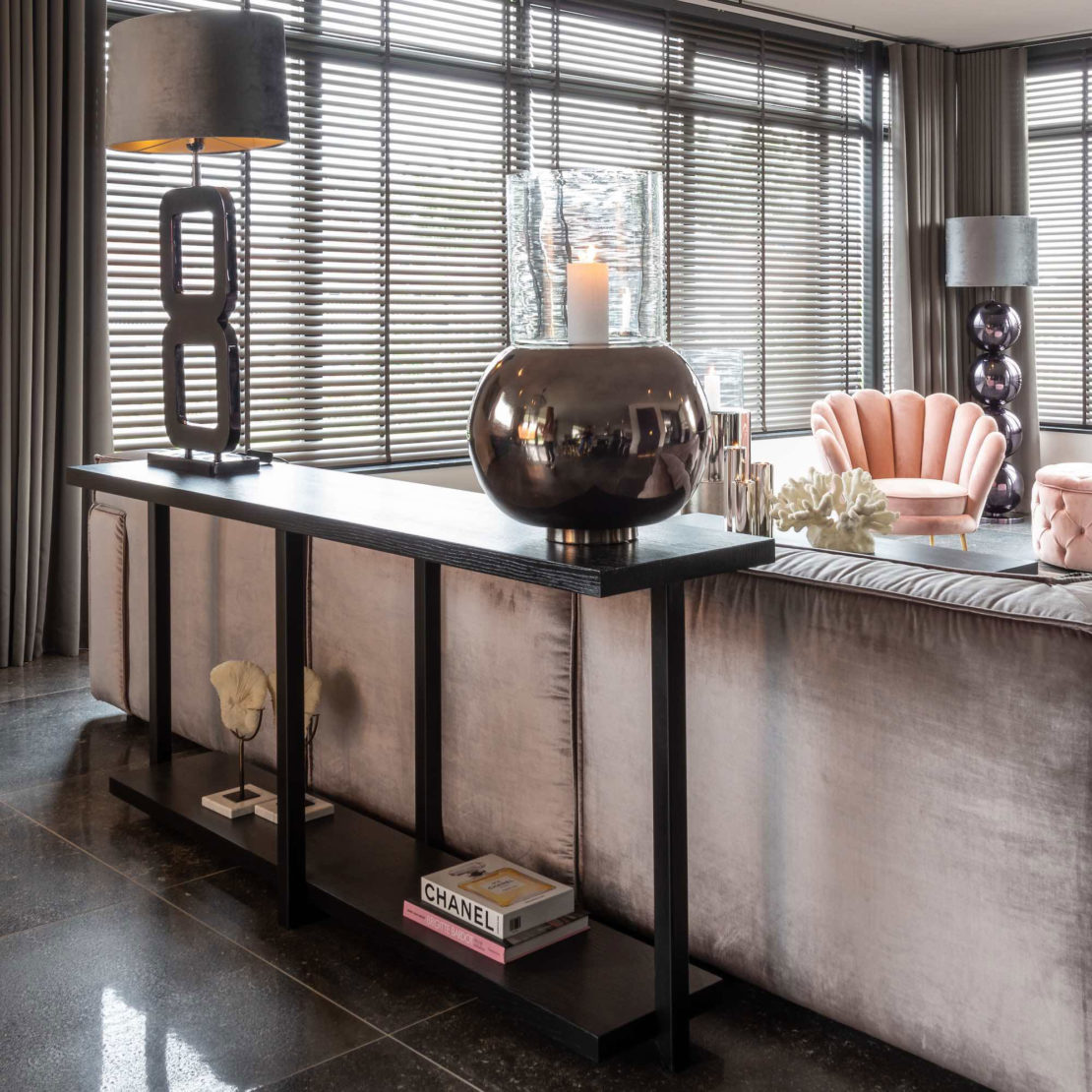 showhome furniture, industrial chic black console table