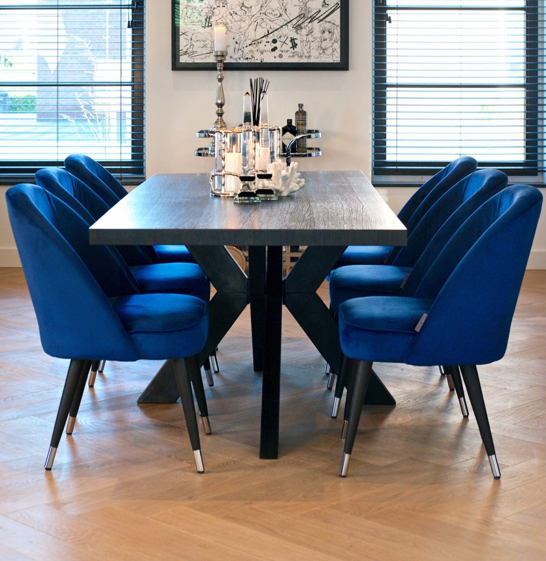 showhome furniture, Industrial Chic Black Dining Table