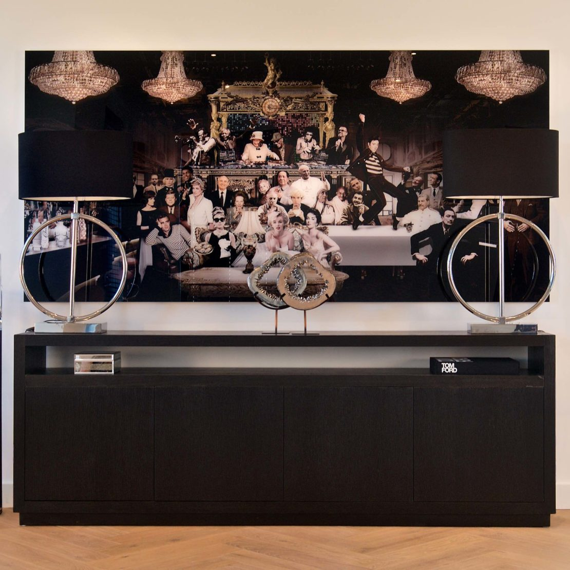show home furniture, Industrial Chic Large Black Sideboard