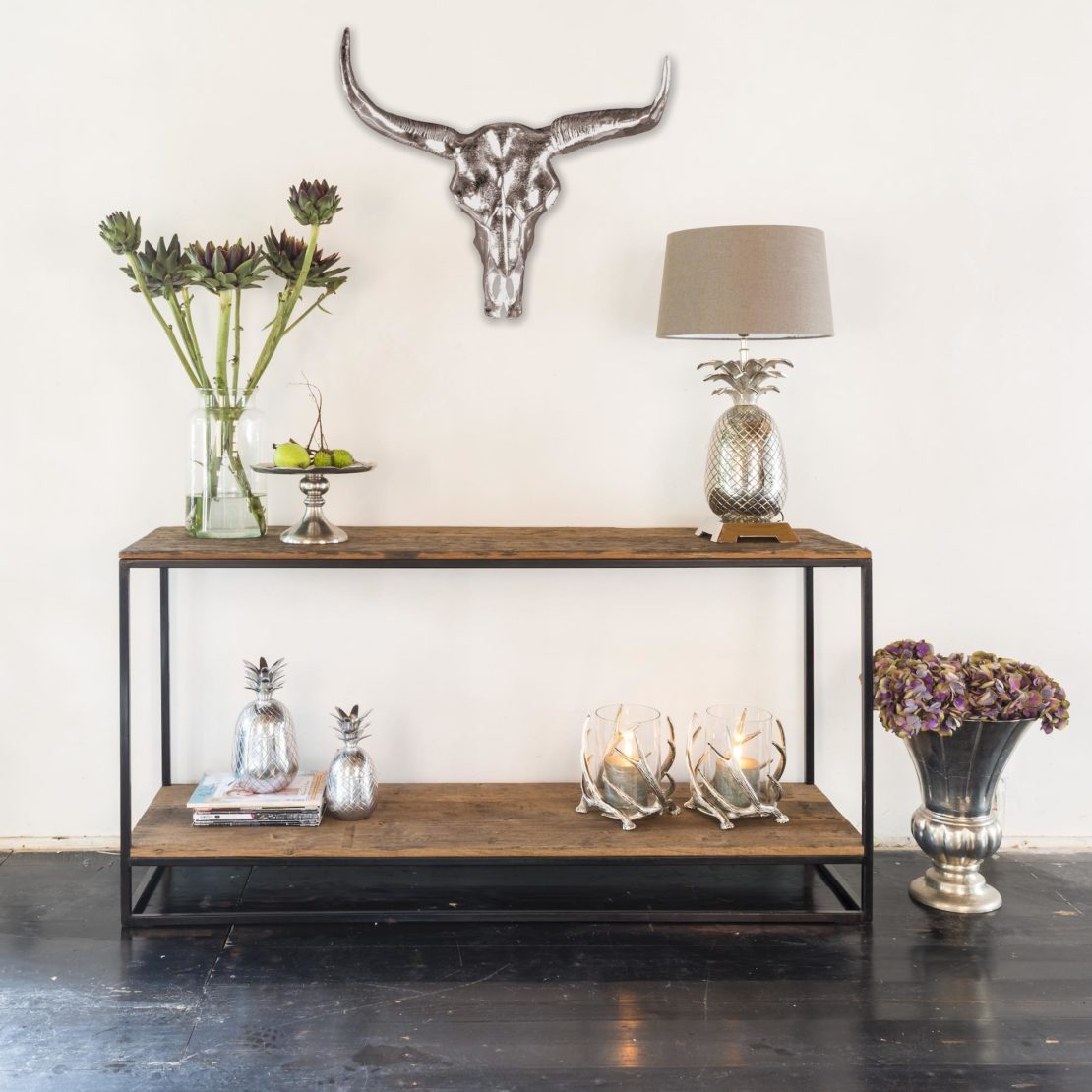 Industrial Recycled Wood Console Table