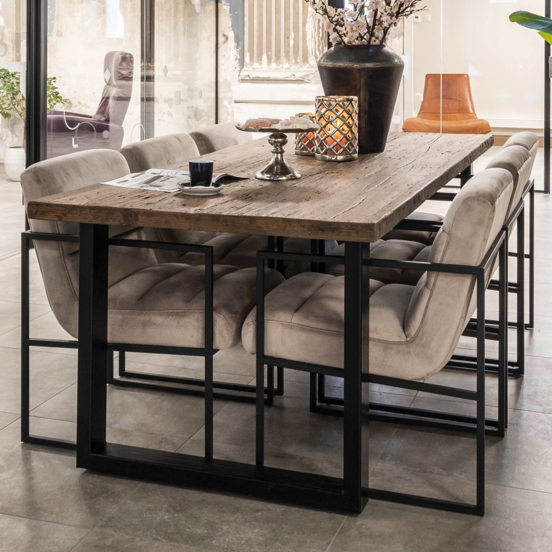 show home furniture, Industrial Recycled Wood Dining Table