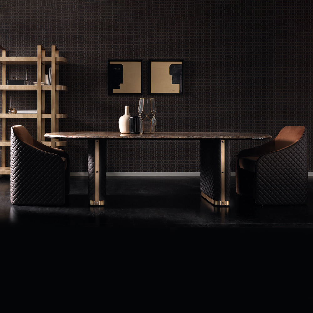 New Arrivals, Italian Quilted Leather Modern Designer Marble Dining Table Set