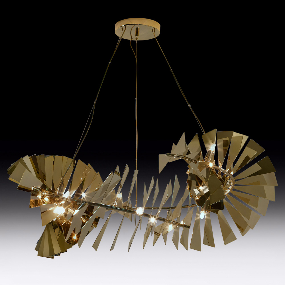 new collection, Luxe, Statement Contemporary Designer Gold Plated Chandelier