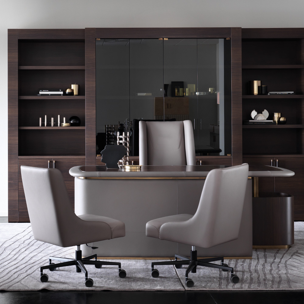 Modern Italian Designer Leather And Walnut Veneer Desk