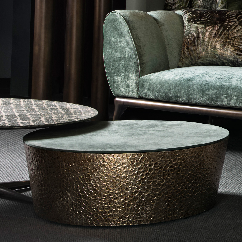 In the press, Modern Italian Hammered Metal Coffee Table